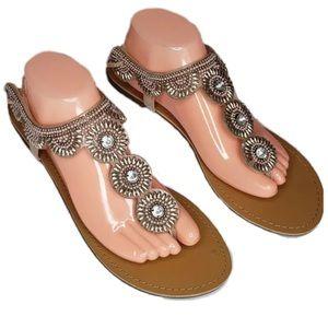 Just Fab Flat Sandals Florelle Blush Pink size 11